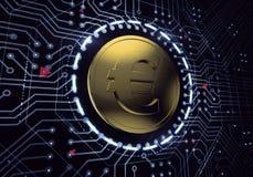 Digitale Euro Munt Royalty-vrije Stock Fotografie