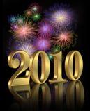 Digitale Feuerwerke des neuen Jahres 2010 Stockfotos