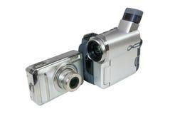 Digitale fotocamera en video camcorder Stock Afbeeldingen