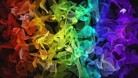 Digitale fractal die van de regenboogkleur over zwarte stromen
