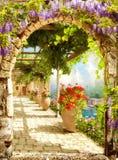 Digitale fresko Boog in villa Royalty-vrije Stock Fotografie
