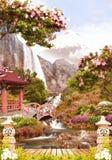Digitale fresko Tuin dichtbij waterval Royalty-vrije Stock Foto