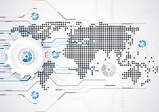 Digitale futuristico di tecnologia circuito di tecnologia sistema globale di tecnologia sottragga la priorità bassa Vettore Immagine Stock