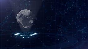 Digitale gegevensbol - abstracte illustratie van een wetenschappelijke technologie Informatienet Omringende aarde op drie