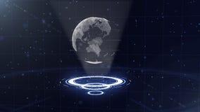 Digitale gegevensbol - abstracte illustratie van een wetenschappelijke technologie Informatienet Omringende aarde op drie vector illustratie