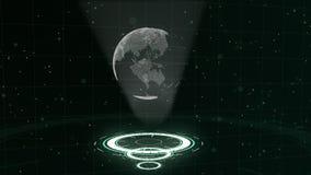 Digitale gegevensbol - abstracte illustratie van een wetenschappelijke technologie Informatienet Omringende aarde op drie royalty-vrije illustratie