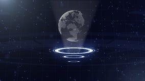 Digitale gegevensbol - abstracte illustratie van een wetenschappelijke technologie Informatienet Omringende aarde op drie stock illustratie
