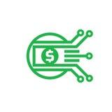 Digitale gelddollar - de vectorillustratie van het embleemmalplaatje Munt - creatief teken Het element van het ontwerp Stock Fotografie