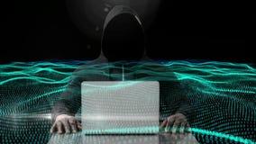 Digitale geproduceerde video van hakker die laptop met behulp van stock videobeelden