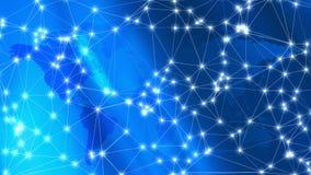 Digitale globale verbindingen, wereldkaart en punten met verbonden lijnen royalty-vrije stock foto's