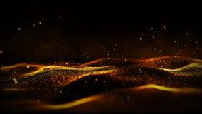 Digitale gouden kleurendeeltjes en lichte motie abstracte achtergrond stock videobeelden
