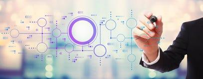 Digitale grafieken en hexagon netten met zakenman stock afbeeldingen