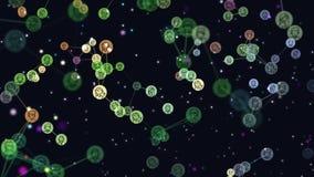 Digitale, grafische videoanimatie van netwerk abstracte gebruikers, virtuele wereld, online communautaire, vliegende banners, pic vector illustratie