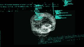 Digitale hersenen en programmacodes stock illustratie