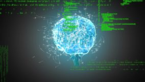 Digitale hersenen en programmacodes royalty-vrije illustratie