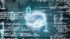 Digitale hersenen en programmacodes met binaire codes en een achtergrond van een digitale kring royalty-vrije illustratie