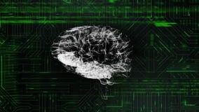 Digitale hersenen en programmacodes met digitale kring stock illustratie