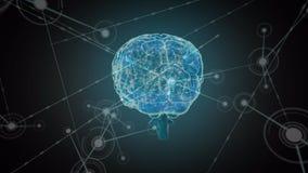 Digitale hersenen met netwerk stock illustratie