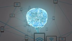 Digitale hersenen met telefoons op een netwerk vector illustratie
