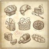 Digitale het pictogramreeks van de tekeningsbakkerij Stock Afbeeldingen