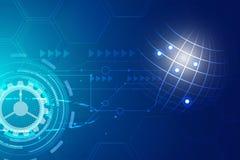 Digitale hitech technologie met tandwiel Stock Fotografie