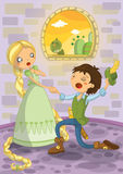 Rapunzel en Prins Stock Afbeelding