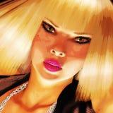 Digitale Illustratie van een Meisjesgezicht stock illustratie
