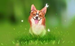 Digitale illustratiekunst het schilderen ontwerpstijl een glimlach van de corgihond vector illustratie