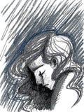 Digitale Illustration des deprimierten Mannes Lizenzfreie Stockbilder