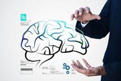 digitale Illustration des Mannes Struktur des menschlichen Gehirns zeigend Lizenzfreie Stockfotografie