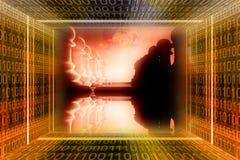 Digitale, industriële oorlog concep royalty-vrije illustratie