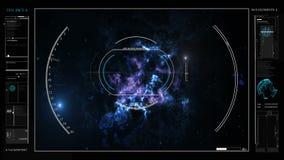 Digitale informatie over de kosmos, de planeet, diagrammen, hologrammen, grafiek HUD stock videobeelden