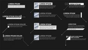 Digitale informatieetiketten op zwarte achtergrond Calloutstitels Moderne banners van lager derde voor presentatie Vector vector illustratie