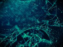 Digitale informatienettechnologie met de verbindingsachtergrond van de netstroom royalty-vrije stock afbeelding
