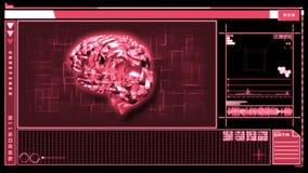Digitale interface die draaiende roze hersenen kenmerken stock illustratie