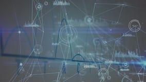 Digitale interface met grafiek en netwerkverbindingen stock illustratie