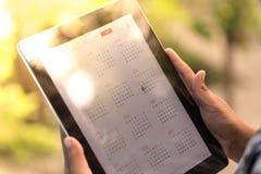 Digitale Kalender op Tablet Royalty-vrije Stock Fotografie