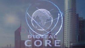 Digitale Kerntekst met 3d hologram van de aarde tegen de achtergrond van de moderne metropool stock footage