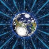 Digitale Kommunikation der Technologie auf Erde stock abbildung