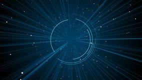Digitale kosmosachtergrond voor gebruikersembleem, die door de ruimte van het computerheelal vliegen vector illustratie