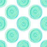 digitale Kreise winden sich blaues nahtloses Muster auf weißem Hintergrund stock abbildung