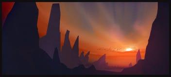Digitale Kunst der Sonnenuntergangillustration Lizenzfreie Stockfotografie