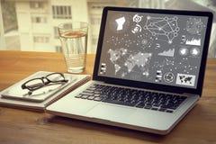 digitale laag bedrijfsstrategie en sociaal media diagram Royalty-vrije Stock Fotografie