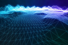 digitale Landschaft wireframe Zusammenfassung der Illustration 3D Cyberspacelandschaftsgitter Technologie 3d Abstraktes Internet Stockbilder