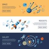 Digitale lijnpictogrammen geplaatst ruimte en raketten stock illustratie