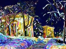 Digitale Malerei des Winternachtstadtbilds Stockfoto
