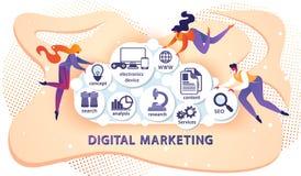 Digitale Marketing Banner met Kleine Toevallige Mensen royalty-vrije illustratie