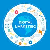 Digitale Marketing Banner Sociale Media Bevordering vector illustratie