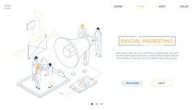 Digitale marketing - banner van het de stijl de isometrische Web van het lijnontwerp stock illustratie