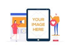 Digitale marketing - de vlakke kleurrijke illustratie van de ontwerpstijl royalty-vrije illustratie